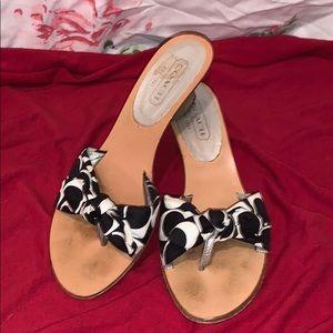 Coach Thong Slides (Black & White w/silver heel)